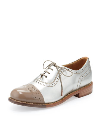 Mr. Dorchester Metallic Cap-Toe Oxford, Champagne/Gold