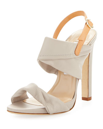 Jacey Leather Slingback Sandal, Light Taupe