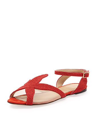 Sandy Beaded Starfish Sandal, Coral