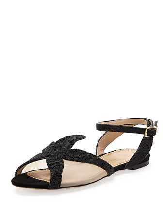 Sandy Beaded Starfish Sandal, Black