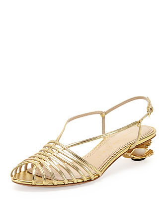 Shelly Seashell-Heel Sandal, Gold