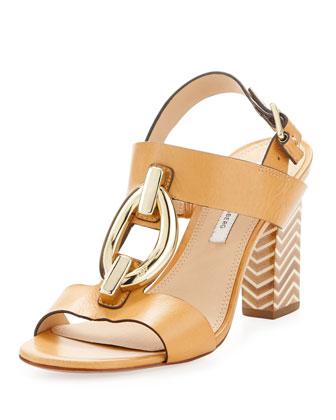 Padme Oval-Link Zigzag-Heel Sandal, Natural