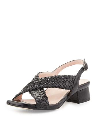 Orla Woven Crisscross Sandal, Black