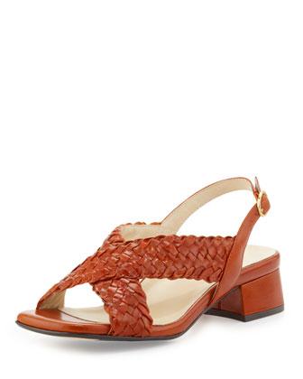 Orla Woven Crisscross Sandal, Red
