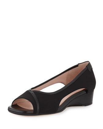 Katy Peep-Toe Stretch Wedge, Black