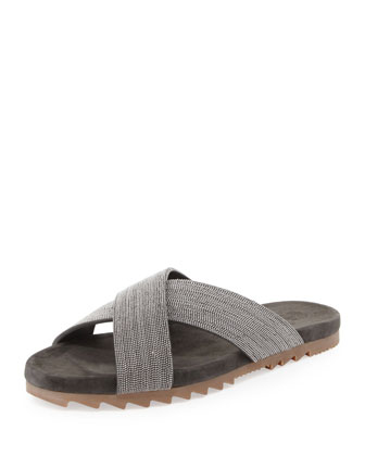 Monili Crystal Crisscross Sandal, Charcoal