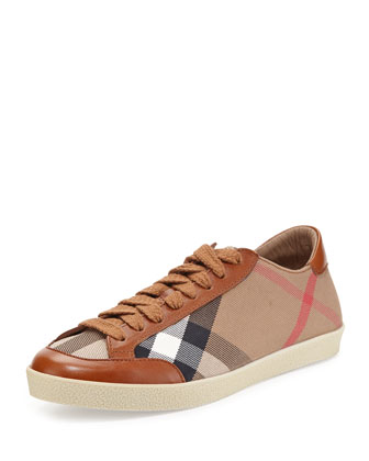 Check Canvas/Leather Low-Top Sneaker