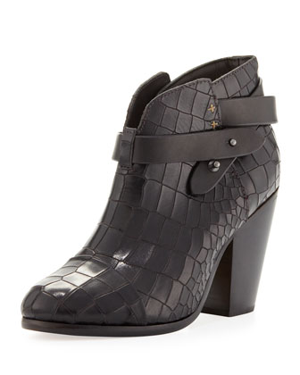 Harrow Crocodile-Embossed Ankle Boot, Black