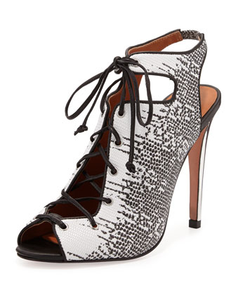 Rio Lizard-Print Lace-Up Peep-Toe Bootie