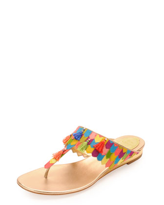 Leather & Tassel Thong Sandal, Multicolor