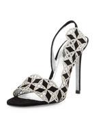 Suede & Crystal Slingback Sandal, Black