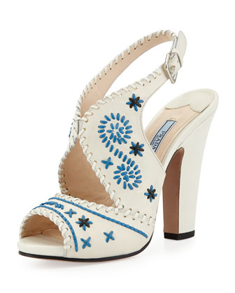 Slingback Stitched Leather Pump, White/Blue