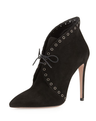 Eyelet Suede Lace-Up Bootie, Black
