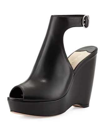 Peep-Toe Leather Ankle-Strap Wedge