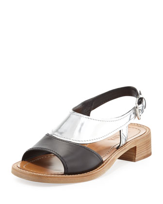 Metallic Bicolor Low-Heel Sandal, Black/Silver