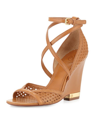 Alyssa Perforated Wedge Sandal