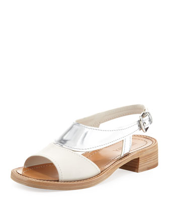 Metallic Bicolor Low-Heel Sandal, White/Silver