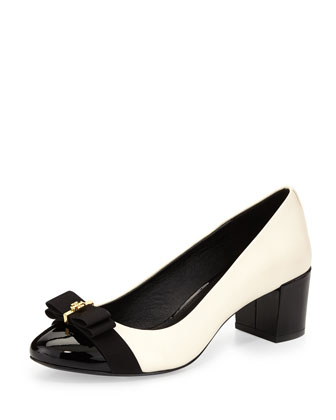 Trudy Cap-Toe Bow Pump, Ivory/Black