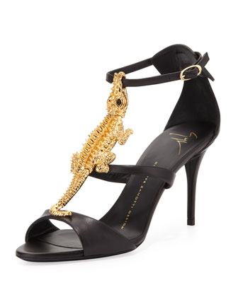 20th Anniversary T-Strap Alligator Sandal, Nero