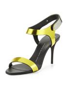 Mirrored Metal-Strap Sandal, Lemon