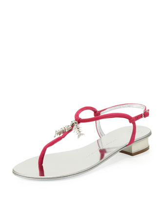 Mini Fish Bone Suede Thong Sandal, Pink
