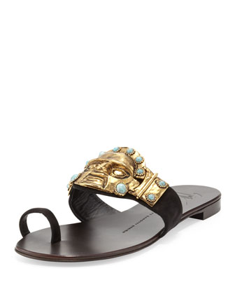 Suede Relief-Face Flat Sandal, Black