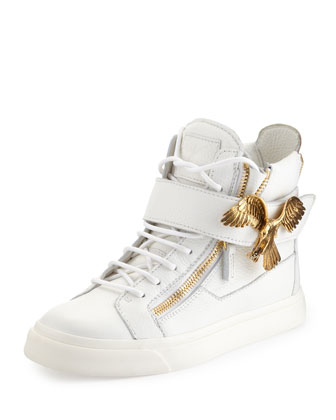 Eagle Side Zip Hi-Top Sneaker, White