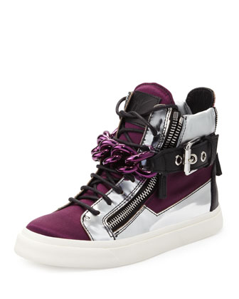 Chain & Zipper Hi-Top Sneaker, Purple
