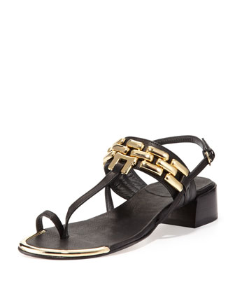 Hardware Chain Thong Sandal, Black