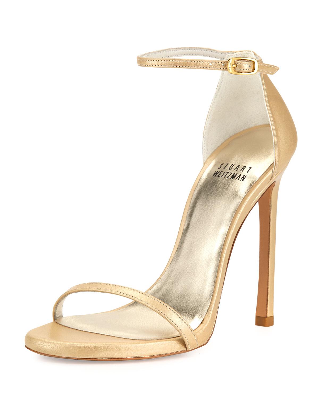 Nudist Ankle Strap Sandal, Pale Gold   Stuart Weitzman   Pale gold (39.5B/9.5B)