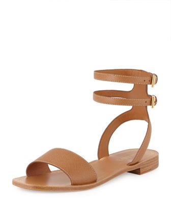 Saffiano Double Ankle-Wrap Sandal