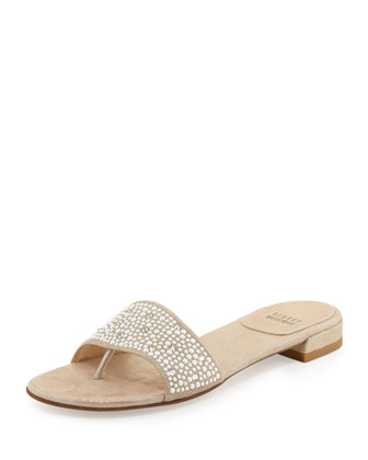 Pearlescent Slide Leather Sandal, Frosting