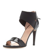 Sexyflex Leather Stretch Sandal, Black