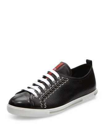 Lace-Up Sneaker with Rivets, Black