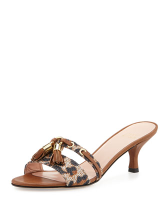Tassa Leopard-Print Slide-On Sandal Pump, Jaguar