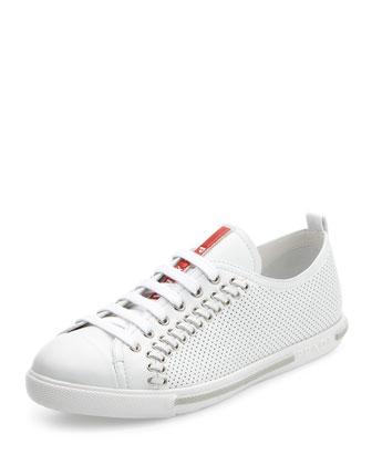 Lace-Up Sneaker with Rivets, White