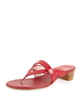 Triango Patent Thong Slide, Raspberry