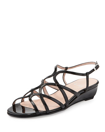 Turning Strappy Patent Demi-Wedge, Black