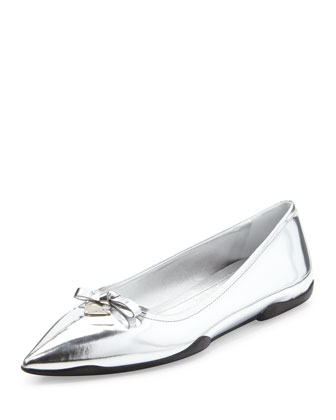 Metallic Point-Toe Ballerina Flat, Argento