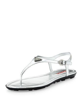 Metallic Logo Thong Sandal