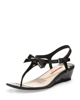 Patent Bow Demi-Wedge Sandal, Black