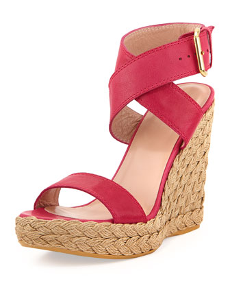 X-Ray Woven Crisscross Wedge, Hot Pink