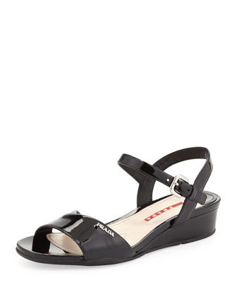 Vernice Demi-Wedge Sandal, Nero