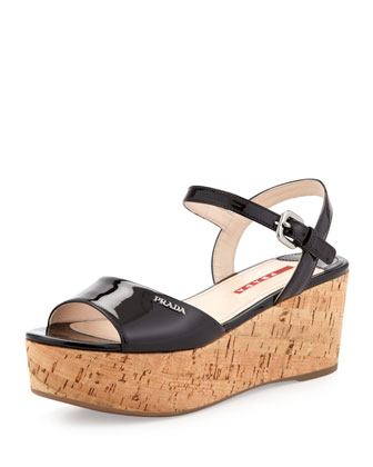 Venice Cork Ankle-Wrap Platform Wedge