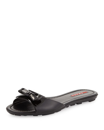 Vernice Bow Slide, Black