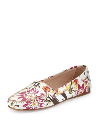 Floral-Print Leather Moccasin
