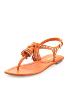 Napa Studded Thong Sandal, Orange