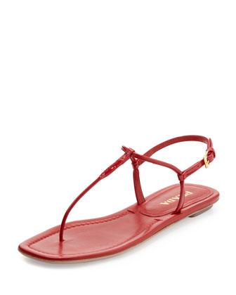Patent Flat Thong Sandal, Red