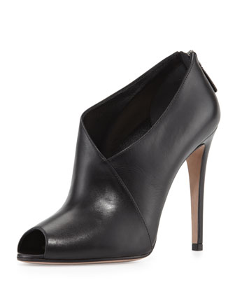 Calfskin Asymmetric Peep-Toe Bootie, Black