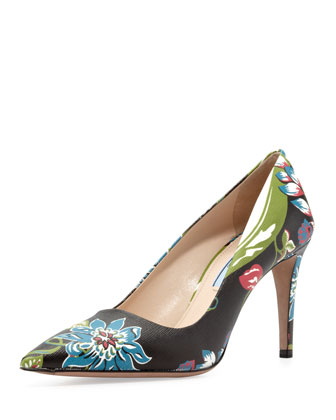 Floral Point-Toe Pump, Black